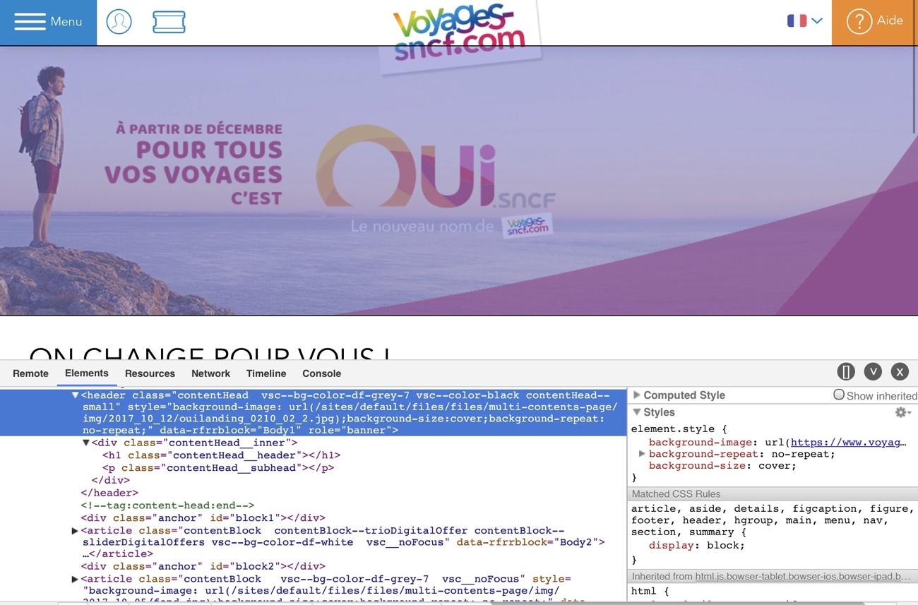 Capture de la page du site avec inspecteur web montrant l'image chargée en background CSS
